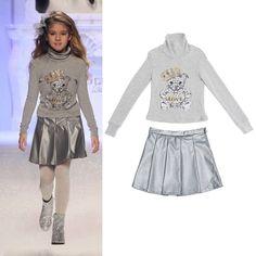 Børnetøj udsalg kjoler til piger Lækker strik til sølv metallic nederdel