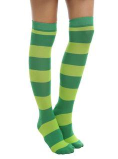 Green Stripe Knee-High Socks,