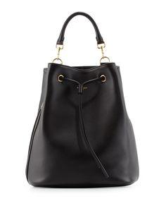 Leather Medium Drawstring Backpack, Black - Saint Laurent