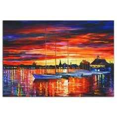Shop for Leonid Afremov 'Helsinki Sailboats at Yacht Club' Colorful Contemporary Art Giclée on Metal. Get free delivery On EVERYTHING* Overstock - Your Online Art Gallery Shop! Helsinki, Art Sur Toile, Inspiration Art, Art Mural, Art Abstrait, Fine Art, Oil Painting On Canvas, Oil Paintings, Sunset Paintings