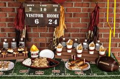 Hostess with the Mostess® - Vintage Football/Tailgate Dessert Table & Party Printables. Love the Scoreboard!