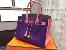 Hermes Bi-Color Birkin 30cm Epsom Calfskin Bag Hand Stitched Gold Hardware, Ultraviolet 5L Rose Lipstick