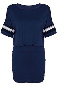 ROMWE | Knitted Striped Sleeves Blue Pleated Dress, The Latest Street Fashion#ROMWE