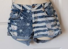 Forever 21 Shorts Size 25 Stars And Stripes American Flag Jeans Juniors Women's  | eBay