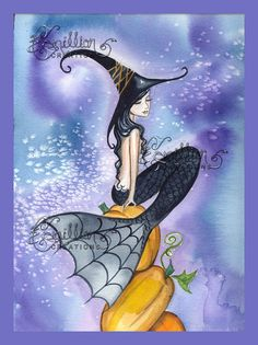Pumpkin Stack Mermaid Witch from Original Watercolor Painting by Camille Grimshaw