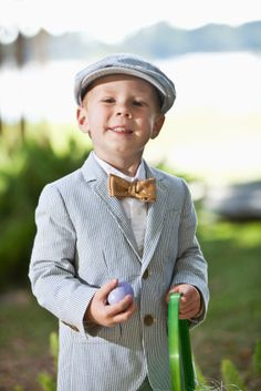 oh...a bowtie and hat! THIS will be Lucas' easter look this year!  Seersucker...Spring Baby Boy Sunshine Line