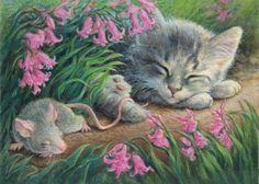 Spring Mouse and Cat Nap Lynn Bonnette
