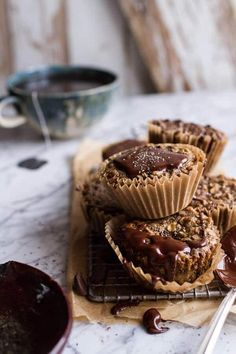 Vanilla Chia and Earl Grey Chocolate Banana Muffins, breakfast, mid-day snack or late evening treat, a healthy indulgence Muffin Recipes, Baking Recipes, Breakfast Recipes, Dessert Recipes, Eat Breakfast, Breakfast Ideas, Beaux Desserts, Chocolate Banana Muffins, Oatmeal Muffins