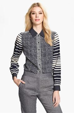 Oh this is stunning! Fab pattern mixing. Maybe a little too hectic with the polka dots on the back? Tory Burch 'Angelique' Stretch Silk Blouse.