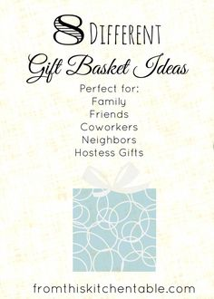 GREAT ideas for gift baskets! I'm going to use this list for the holidays, birthdays, and appreciation gifts. Fun ideas anyone would love!