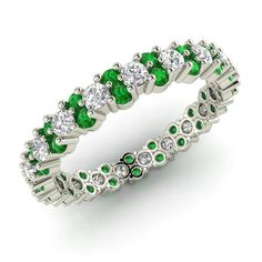 Eternity Wedding Band With Natural Green Emerald & SI Diamond  In 14k White Gold #Diamondere