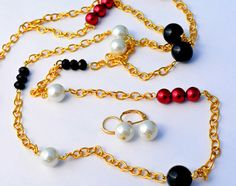 Gold Jewelry Set. Statement Jewelry. Long Necklace. Statement Necklace. OOAK. Gifts for Her. Handmade. Classy Jewelry. Unique Gifts.