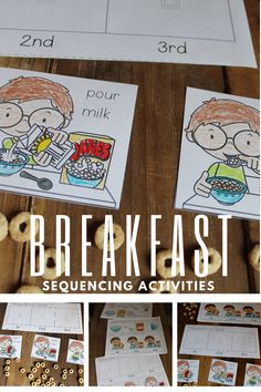 Kids can practice ordering events with these breakfast sequencing activities. This set includes two activities and a control sheet. It's perfect for preschoolers! #sequencingactivities #sequencingpages #sequencingcards #homeschoolprek