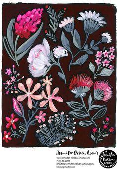 print & pattern: NEW WORK - jennifer orkin lewis Jungle Illustration, Plant Illustration, Sketchbook Inspiration, Art Sketchbook, Gouche Painting, Wrapping Paper Design, Botanical Drawings, Animal Sketches, Floral Illustrations