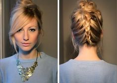 French fishtail into a high messy bun