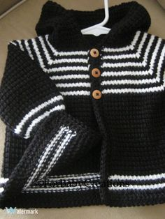 Crochet Baby Boy Sweater with Hood  Black White   MADE TO