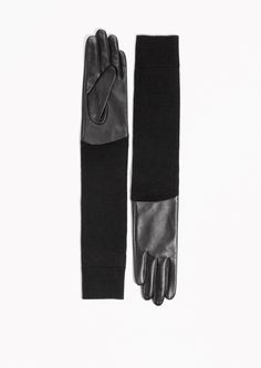 & Other Stories Long Leather Wool Gloves in Black