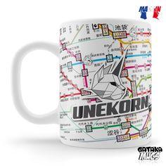 Voyagez en métro à l'autre bout du monde avec ce mug logo Unekorn sur fond de plan de lignes de métro japonais. © Studio Unekorn / Unekorn 2017, tous droits réservés.