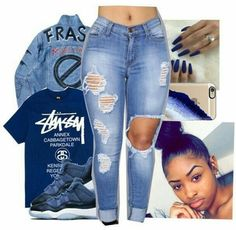 A fashion look from June 2017 featuring denim jacket, mid wash jeans and slim iphone case. Browse and shop related looks. Lit Outfits, Cute Swag Outfits, Jordan Outfits, Dope Outfits, Simple Outfits, Outfits For Teens, Casual Outfits, Jordan Shoes, Dope Fashion