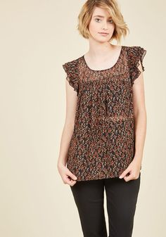 Scouring your closet for a great ensemble treasure, you spy this ruffled top from our ModCloth namesake label and decide it's the perfect piece for the day! A flirty and feminine discovery with its layered cap sleeves, delicate floral print, and breezy fabric, this black blouse is one delectable outfit treat.