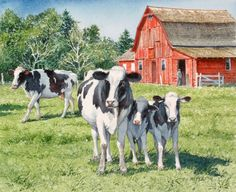 """Springtime in the Pasture"" - by Charles L Peterson ~ Watercolor Farm Paintings, Animal Paintings, Watercolor Animals, Watercolor Art, Gado, Cow Painting, Farm Art, Cow Art, Country Scenes"