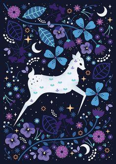 A mystical spirit deer travelling through the forest.    C xxx