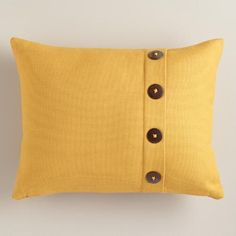 One of my favorite discoveries at WorldMarket.com: Mustard Yellow Basketweave Lumbar Pillow with Button