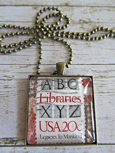 Postage Stamp Necklace, Glass Tile Necklace, Patriotic Necklace, Americana Pendant, Stamp Pendant Necklace, Patriotic Pendant, Necklaces by BrownBeaverBeadery on Etsy