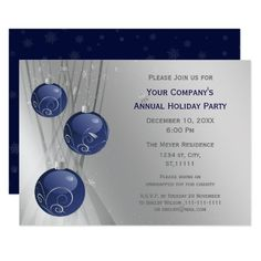 silver navy blue #corporate #holiday party invitations #christmas #holidays #silver #navy #navyblue