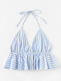 Striped Frill Hem Open Back Crop Halter Top -SheIn(Sheinside) Crop Top Outfits, Girly Outfits, Trendy Outfits, Cute Outfits, Diy Fashion, Ideias Fashion, Fashion Outfits, Womens Fashion, Fashion Top