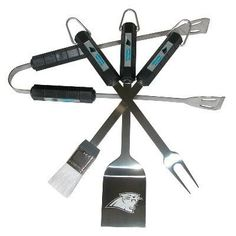 Carolina Tailgating never looked so good! This Carolina Panthers stainless steel BBQ grilling tool set is a perfect way of showing your Panthers pride on Game Day. Each utensil is printed with Panther