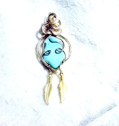 Wire Sculpture Sleeping Beauty Turquoise Pendant, Gold Filled Setting