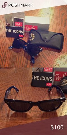 Ray Ban Wayfarer Black Authentic Ray Ban Wayfarer polarized sunglasses, they were a gift to me but sit oddly on my face structure, gently used and super cute! Ray-Ban Accessories Sunglasses