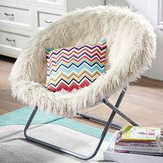 "Ivory Furlicious Faux Fur Hang-A-Round Chair 37"" wide x 30"" deep x 31.5"" high $125"