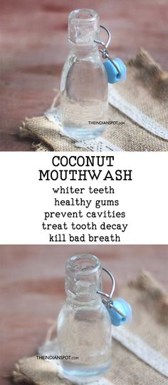 natural remedies COCONUT MOUTHWASH - Oil pulling is a traditional Ayurveda technique that is basically to rinse your mouth with oil much like you would with a mouthwash. Oil pulling has lots of health benefits as it detoxifies and cleans Coconut Oil For Teeth, Coconut Oil Pulling, Benefits Of Coconut Oil, Health Remedies, Home Remedies, Holistic Remedies, Herbal Remedies, Ayurveda, How To Prevent Cavities