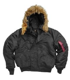 Our toasty N-2B parka offers serious protection against freezing temperatures with a synthetic fur hood, water repellent, 100% nylon shell and polyester interlining, in addition to the knit waistband and cuffs • The N-2B flight jacket is versatile — unzip the hood so it lies flat against your shoulder and back if you are less cold • This short waist parka is dry clean only and comes in: Chocolate, replica blue, navy, gunmetal gray, sage green and black