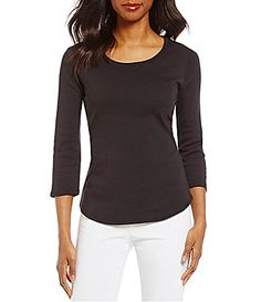 Ruby Rd Scoop Neck 34 Sleeve Solid Rib Knit Top #Dillards