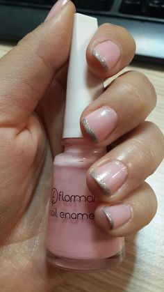 Grey french manicure on pink polish