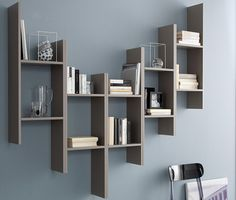 Open wall-mounted floating wooden bookcase GAME by DOMITALIA design Studio Balutto Associati