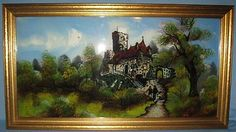 """Original Framed Antique Reverse Painting on Glass """"Castle Blorio"""" CA LATE1800'S 