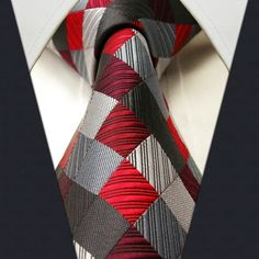 Red / Gray Check - Neckties Only Collection - off discount code… Sharp Dressed Man, Well Dressed Men, Tie And Pocket Square, Pocket Squares, Cool Ties, Dress For Success, Suit And Tie, Tie Knots, Gentleman Style
