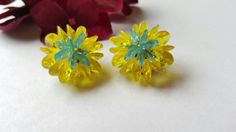 Cute Vintage Clip On Earrings Blue Yellow Lucite Vintage Jewelry