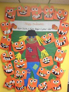 Preschool bulletin board idea for Halloween.