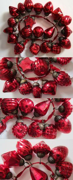 Christmas Decorations: Red Mercury Glass Kugel Style Miniature Christmas Ornaments. Set Of 20. Fabulous BUY IT NOW ONLY: $38.95