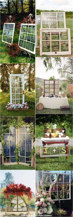 vintage rustic old window wedding decor ideas / http://www.deerpearlflowers.com/diy-window-wedding-ideas/