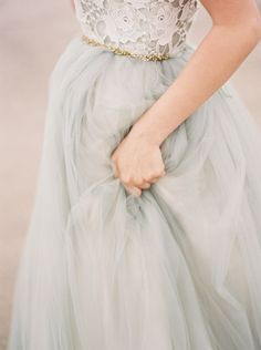 lace top, tulle-like skirt, dainty gold belt // beautiful gown