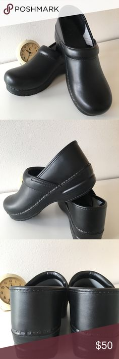 "DANSKO Black size 38 LIKE NEW condition! So comfortable! The perfect ""stand all day"" shoe. These shoes have NO scuffs or scratches, heels toes, edges all look great. If you stand all day you'll be so glad to have Dansko. Dansko Shoes"