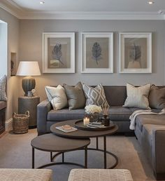 Contemporary living room colors modern grey and tan living room interior design living room color scheme . Earthy Living Room, Elegant Living Room, Living Room On A Budget, Living Room Modern, Interior Design Living Room, Home And Living, Modern Interior, Beige And Grey Living Room, Gray Living Room Walls