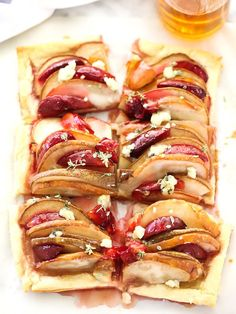 Pear and Plum Puff Pastry Tart with Blue Cheese - foodiecrush