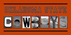 Oklahoma State Cowboys Black & White Alphabet Photography